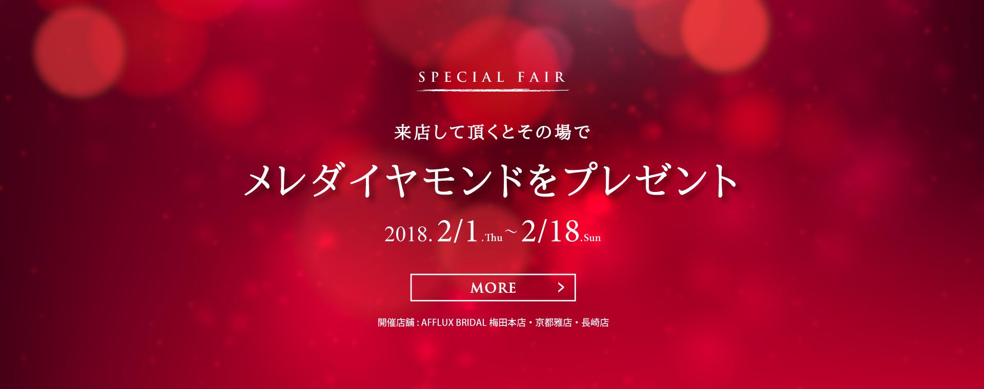 来店して頂くとその場でメレダイヤモンドをプレゼント 2018.2/1.Thu~2/18.Sun