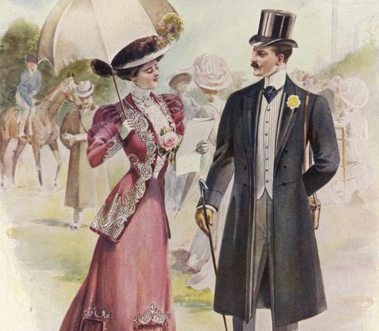 フロックコートを着た紳士とドレス姿の淑女